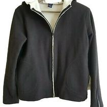 Women's Gap Black and White Fleece Hooded Zip-Up Jacket Photo