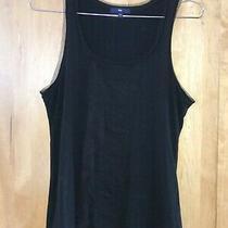 Women's Gap Black With Tulle Ruffle Sleeveless Tank Top Tee Sz M Photo