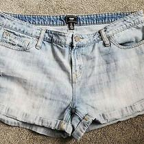 Women's Gap Brand Destructed Light Wash Cuffed Stretch Jean Shorts Plus Size 16 Photo