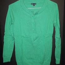 Women's Gap Bright Green Sweater With Buttons Euc Photo