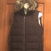 Womens Gap Brown Goose Down Hoodie Vest Sz. L Photo