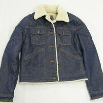 Women's Gap Denim Jean Sherpa Lined Barn Coat Jacket Small S Photo