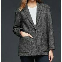 Women's Gap Herringbone Blazer Size Medium Black/white Pattern Wool-Blend 118 Photo