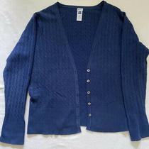 Womens Gap Navy Blue Button v-Neck Long Sleeve Cable Sweater Cardigan Sizexxl Photo
