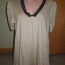 Women's Gap S/s Puff Sleeve v-Neck Blush Pink Top W/ Black Lace Sz Medium Photo