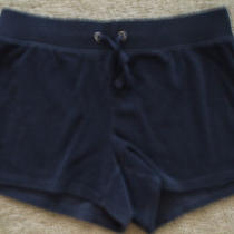 Women's Gap Shorts Navy Blueterry Cloth Draw String Elastic Waist Small Photo