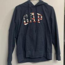 Women's Gap Size Xl Blue 4th of July Athletic Zip Up Hoodie Sweatshirt Jacket Photo