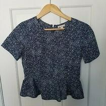 Women's Gap Top Size 2 Navy Print Peplum Short Sleeve Zipper Back Detailing Photo
