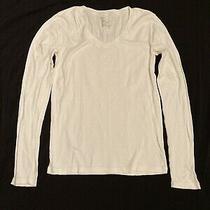 Womens Gap White v Neck Long Sleeve Tee- Size M. Plain v Neck T-Shirt Top Photo