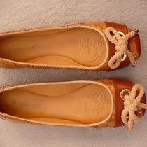 Women's Gianni Bini Sawyer Lacquered Cork Flats Us Size 8.5m Natural/ac Tan Euc Photo