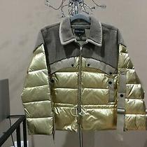 Women's Gold Jacket Coat Real Lamb Fur and Genuine Leather Photo