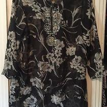 Women's Grace Elements Black/gray Floral Sheer Bead Embellished Tunic Blouse - M Photo