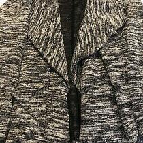 Women's Grace Elements Black/white Tweed Open Front Ruffled Blazer Size L Photo