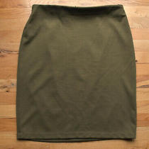 Womens Grace Elements Olive Green Knee Length Skirt (14) Gold Back Zipper Photo