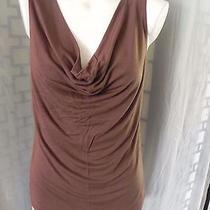 Women's Grace Elements Solid Brown Stretch Cowl Neck Sleeveless Knit Top - Sz L Photo
