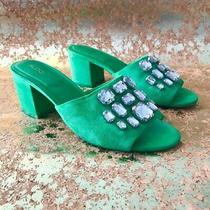 Women's Green Jewel Encrusted Aldo Faux Suede Slide High Heel Sandals Size 9m Photo