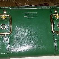 Women's Green Leather Coach Zip Accordion Wallet Photo