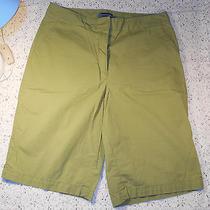 Women's Green Stretch Cotton Cropped Capri Pants by Classic Elements - Sz 14 Photo