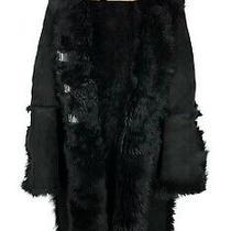 Women's Gucci Leather Shearling Coat Italy Black Overcoat Jacket Size - 40 Photo