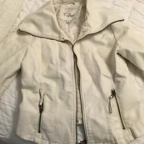 Women's Guess Faux Leather Jacket Ream Size M Zipper Collar Photo