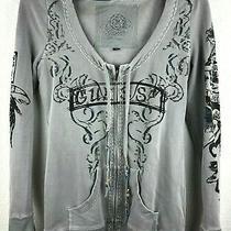 Women's Guess Gray Rhinestone Zip Up Hoodie Guess Jacket Size S Sweater Shirt Photo
