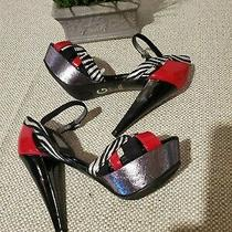 Women's Guess Heels Red/black Animal Print With Shimmer Sides Size 7 New  Ex Photo