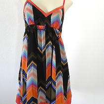 Women's Guess Jeans 100% Silk Baby Doll Dress Size 7 Multi-Colored Mini Photo