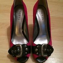 Women's Guess Pumps. Pink/black/sliver. Size 5 1/2 Photo