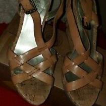 Women's Guess Tan Leather & Cork Wedge Heel Sandal Open Toe Adj. Buckle 10m Photo