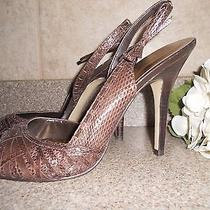 Women's Guess Taupe Crocodile Open Toe Sandals-Heels-Pumps Size 9 Photo