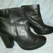 Women's h&m Black Leather Ankle Heel Boots Size 40 / 8.5 Us Photo