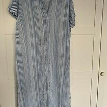 Women's h&m Blue Stripe Cotton Tunic Dress - Size 16 Uk (Worn Once) Photo