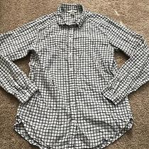 Womens h&m Button Up Casual Work Dress Shirt White/black Plaid Checked Small S Photo