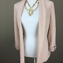 Women's h&m Conscious Size 8 Pink Blush Blazer Cuff Sleeve Tassel Belt Photo