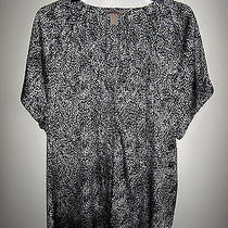 Women's h&m Pullover Black & White Curved-Neck S/s Top 18 Bust 48