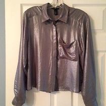 Women's h&m Shimmer Buttondown Blouse - Size 8  Photo
