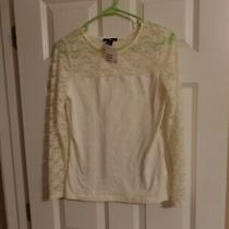 Women's H & M White Top Lace Long Sleeve and Shoulders Sizesmall Nwt Photo