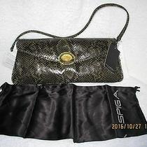 Women's Handbag via Spiga Clutch Purse Croc Moc Leather Green New With Tag Photo