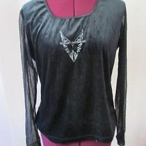 Women's Harley Davidson Black Chiffon Velveteen Long Sleeve Dressy Top Sz Large Photo