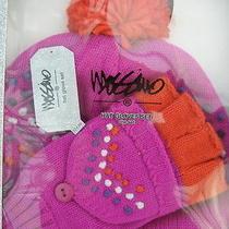 Womens Hat Glove Set New Purple Orange Junior Gift Box Pop-Top Gloves Mossimo Photo