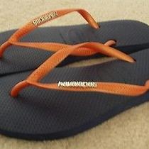 Women's Havaianas Slim Flip Flops Sandals Navy/orange  Sz. 7/8 Photo