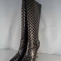Womens High Heel Fashion Boot Size 10 4-1/2 Heel Grey & Black Nib (Gp-700) Photo