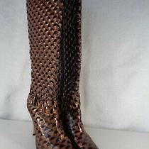 Womens High Heel Fashion Boot Size 12 4-1/2 Heel Brown Nib (Gp-706) Photo