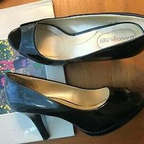 Women's High Heel Pumps Open Toe by Bandolino Sz 8.5 Med. Shiny Black Photo