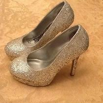 Women's High Heel Wedding Shoes Swarovski Crystal Platform Bride Size 7 Wide Photo