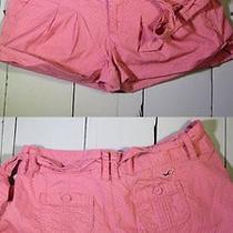 Women's Hollister Co Size 1 Coral Polka Dot Pleated Belt Shorts Like New Nice Photo