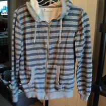 Women's Hoodie Junior's Small Roxy Zip Up Grays Striped Sweatshirt (Bx06) Photo