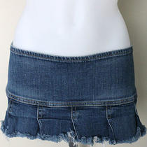 Women's Hudson Jeans Denim Micro Mini Skirt Frayed Pleated Hem Stretch Size 8/29 Photo