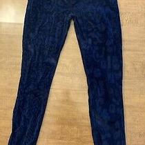 Women's Hudson Jeans Size 27 Blue Cheetah Print Velour Straight Cut Worn Once Photo
