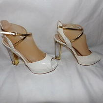 Women's Ivory Patent Leather Guess Beautiful Heels Size 10 M Photo